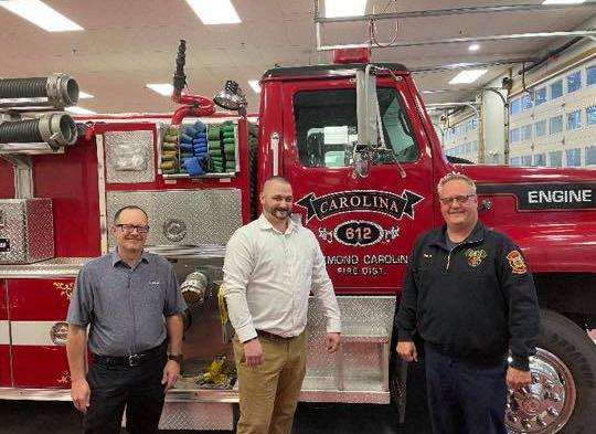 Pictured left to right , Board Chairman Randy Petrichko, Peter Karsch and Chief Scott W. Barber.